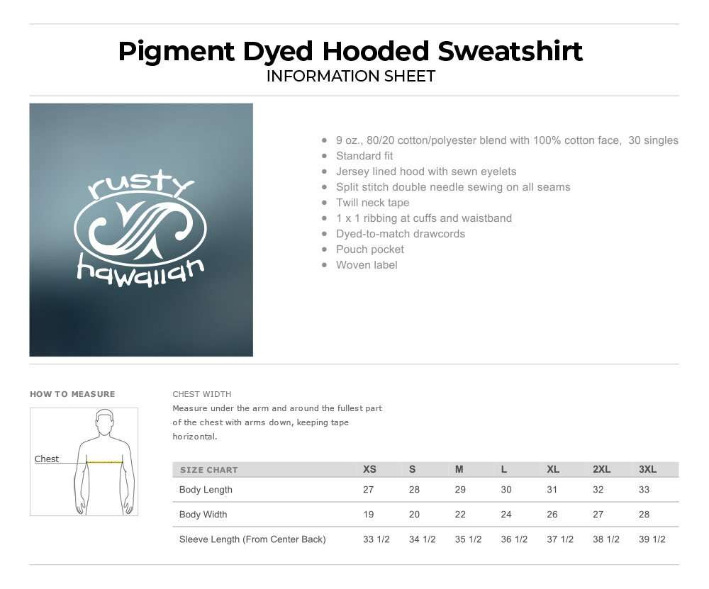 Beach Washed Hooded Sweatshirt Product Information and Specification Sheet