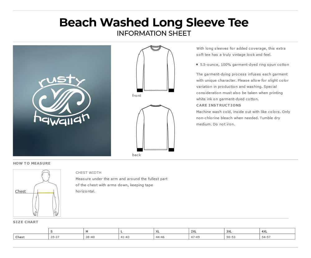 Beach Washed Long Sleeve Tee Shirt Product Information and Specification Sheet