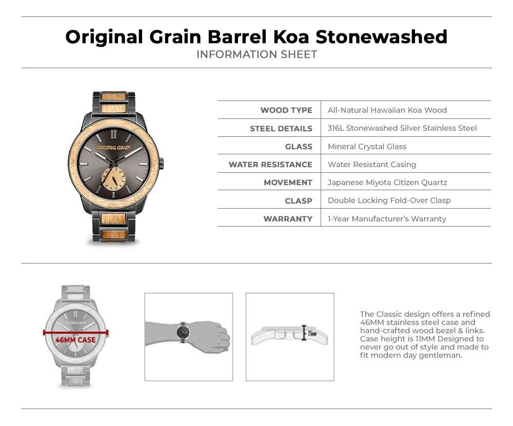 Original Grain Barrel Koa Wood 46mm Handcrafted Watch