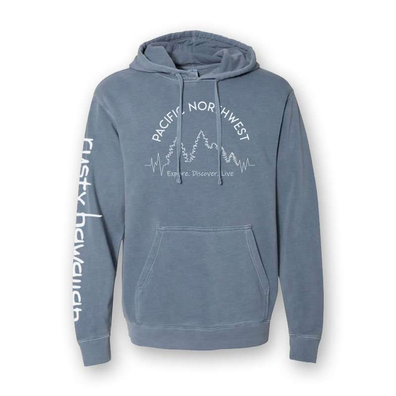 Pacific Northwest Beach Washed Hooded Sweatshirt Front Product Picture