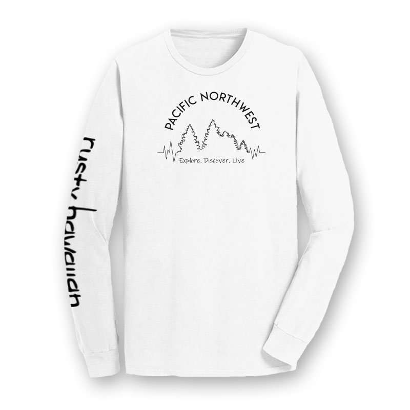 Pacific Northwest Beach Washed Long Sleeve T Shirt Front Product Picture