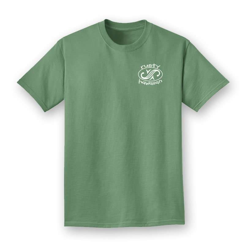 Rusty Hawaiian Beach Washed Short Sleeve Tee Shirt Front Product Picture