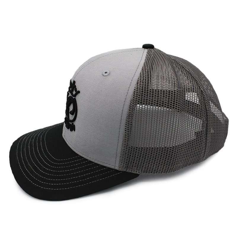 Rusty Hawaiian Mesh Cap with Oval Logo Grey & Dark Grey SIDE View