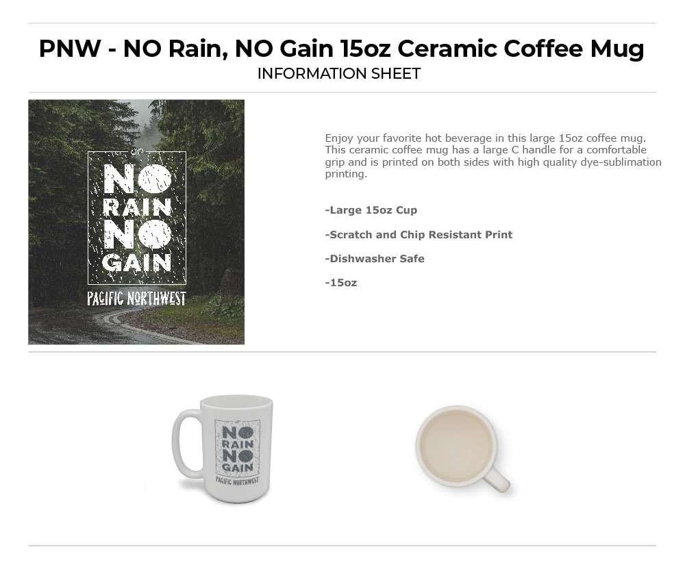 No Rain No Gain in Box Coffee Mug Information Sheet
