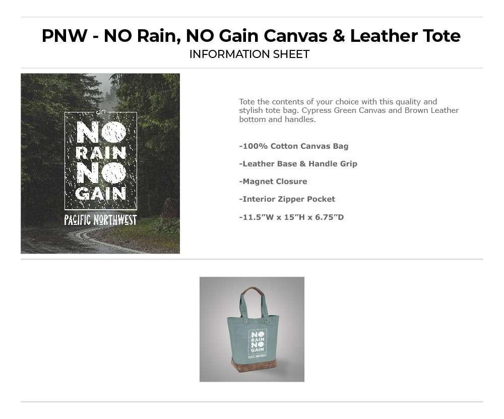 No Rain No Gain in Box Tote Bag Information Sheet