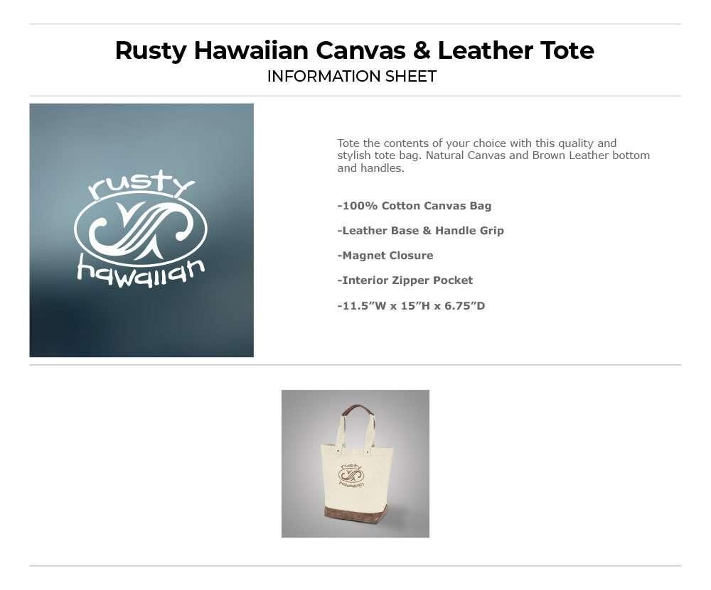 Rusty Hawaiian Oval Logo Tote Bag Information Sheet